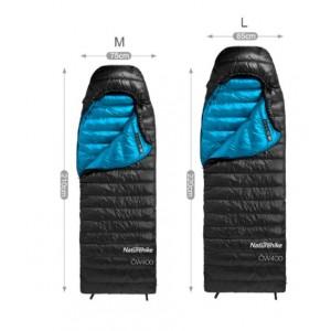 Спальник пуховий Naturehike CW400 розмір L, чорний (NH18C400-D)